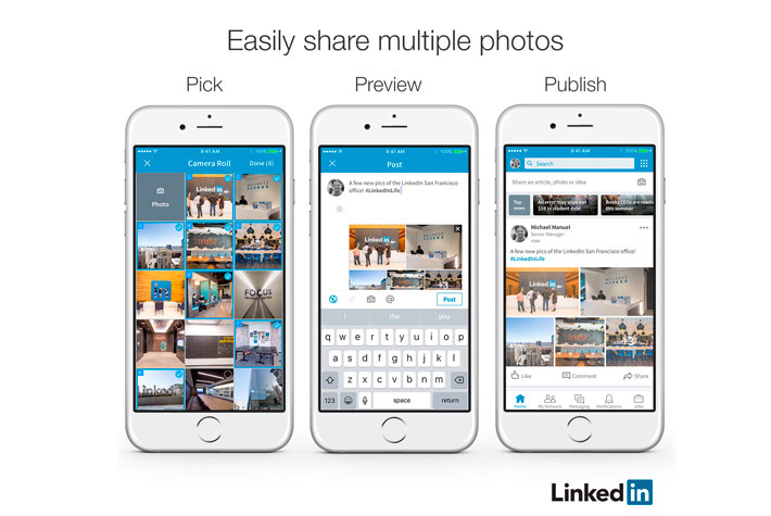 Múltiplas fotos no LinkedIn